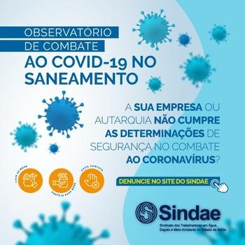 Sindae lança Observatório para receber denúncias e divulgar novos procedimentos contra o coronavírus